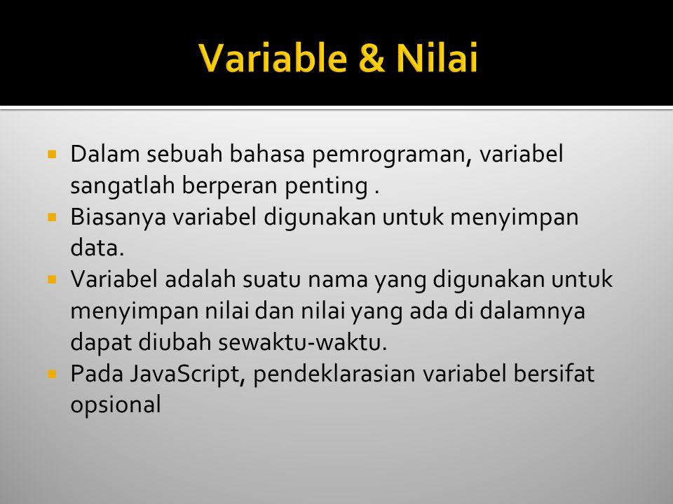  Dalam sebuah bahasa pemrograman, variabel sangatlah berperan penting.  Biasanya variabel digunakan untuk menyimpan data.  Variabel adalah suatu na