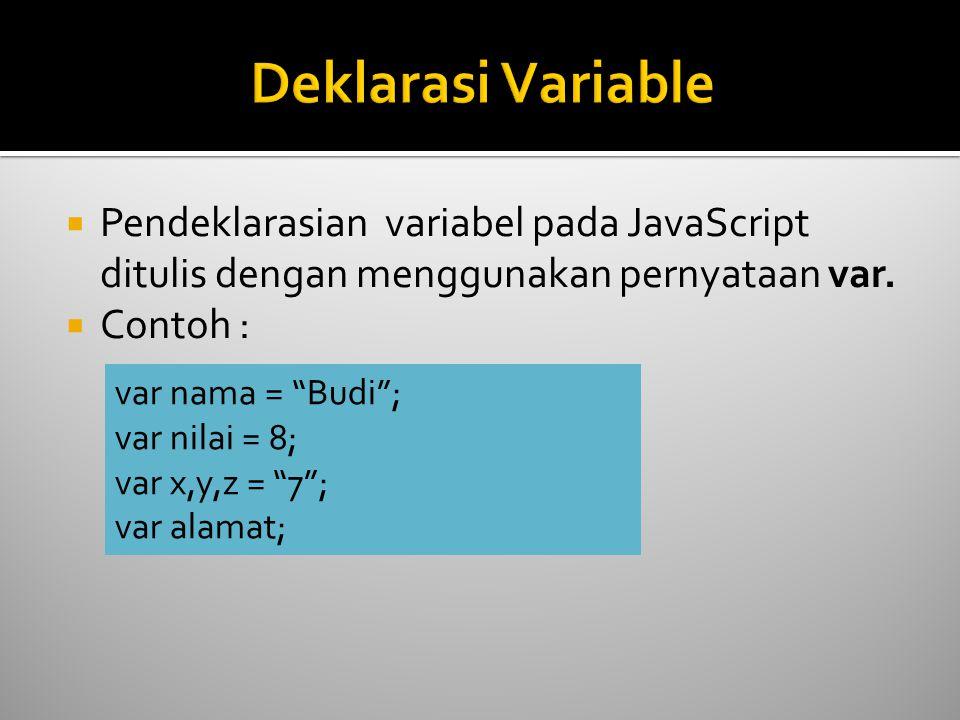 """ Pendeklarasian variabel pada JavaScript ditulis dengan menggunakan pernyataan var.  Contoh : var nama = """"Budi""""; var nilai = 8; var x,y,z = """"7""""; var"""