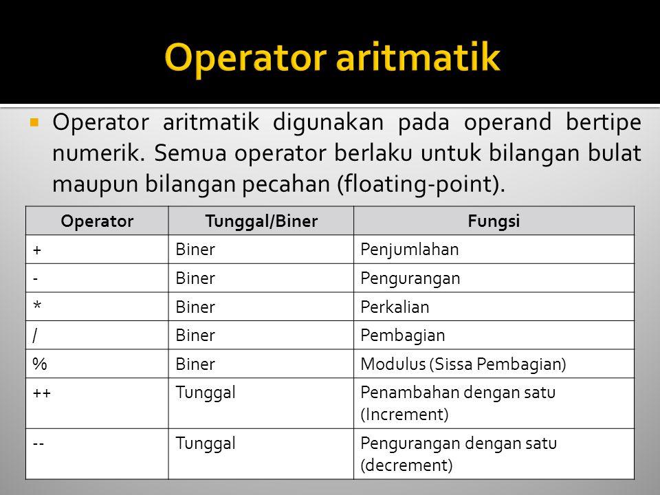  Operator aritmatik digunakan pada operand bertipe numerik.
