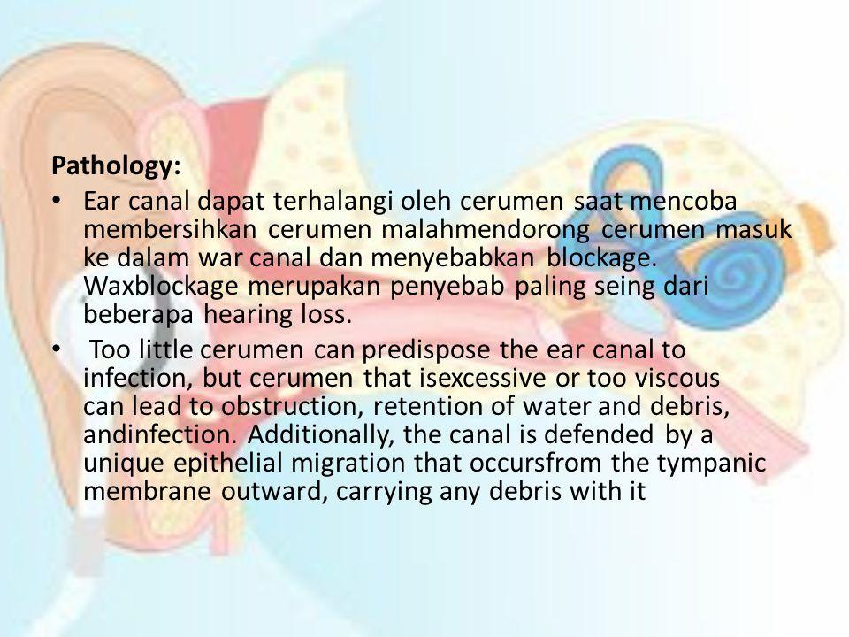 Pathology: • Ear canal dapat terhalangi oleh cerumen saat mencoba membersihkan cerumen malahmendorong cerumen masuk ke dalam war canal dan menyebabkan