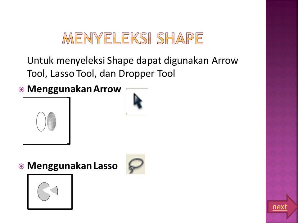 Untuk menyeleksi Shape dapat digunakan Arrow Tool, Lasso Tool, dan Dropper Tool  Menggunakan Arrow  Menggunakan Lasso next