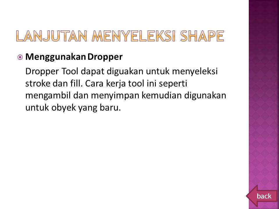  Menggunakan Dropper Dropper Tool dapat diguakan untuk menyeleksi stroke dan fill. Cara kerja tool ini seperti mengambil dan menyimpan kemudian digun