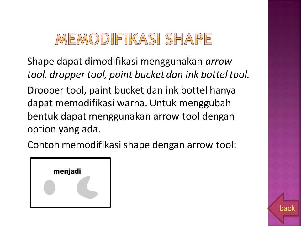 Shape dapat dimodifikasi menggunakan arrow tool, dropper tool, paint bucket dan ink bottel tool. Drooper tool, paint bucket dan ink bottel hanya dapat