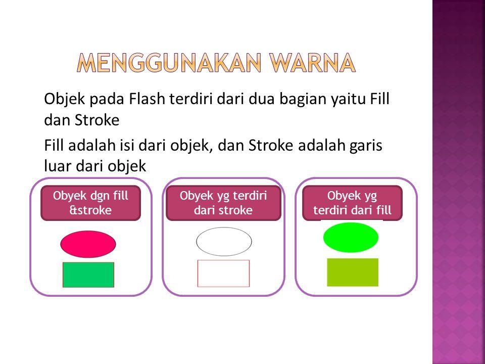 Objek pada Flash terdiri dari dua bagian yaitu Fill dan Stroke Fill adalah isi dari objek, dan Stroke adalah garis luar dari objek Obyek dgn fill &str