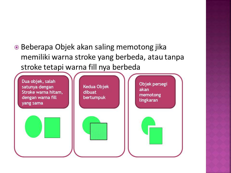  Beberapa Objek akan saling memotong jika memiliki warna stroke yang berbeda, atau tanpa stroke tetapi warna fill nya berbeda Dua objek, salah satuny