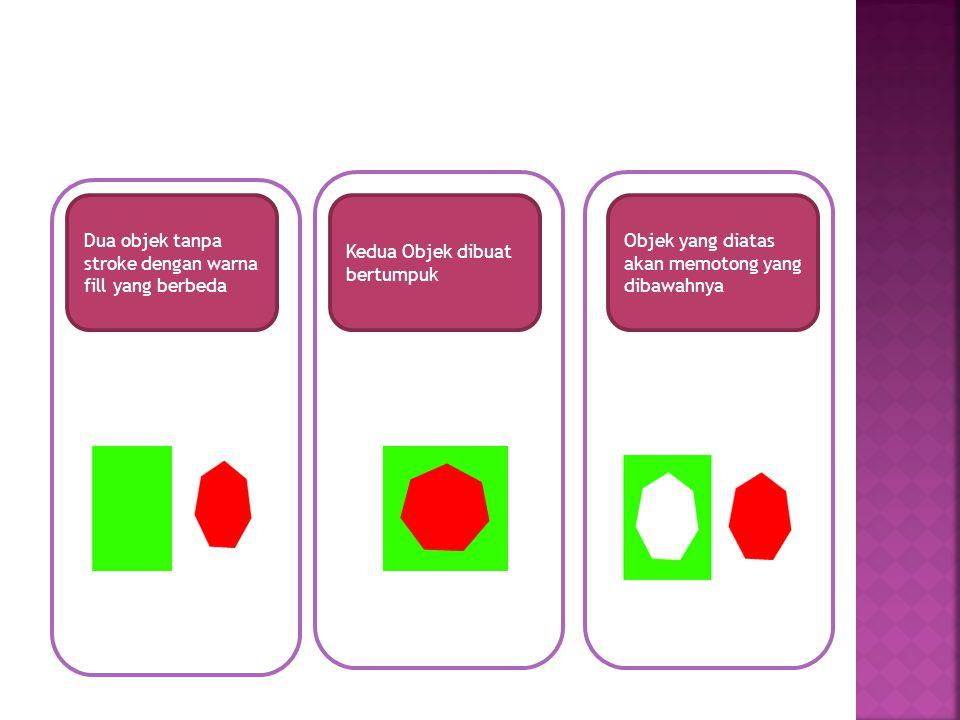 Dua objek tanpa stroke dengan warna fill yang berbeda Kedua Objek dibuat bertumpuk Objek yang diatas akan memotong yang dibawahnya