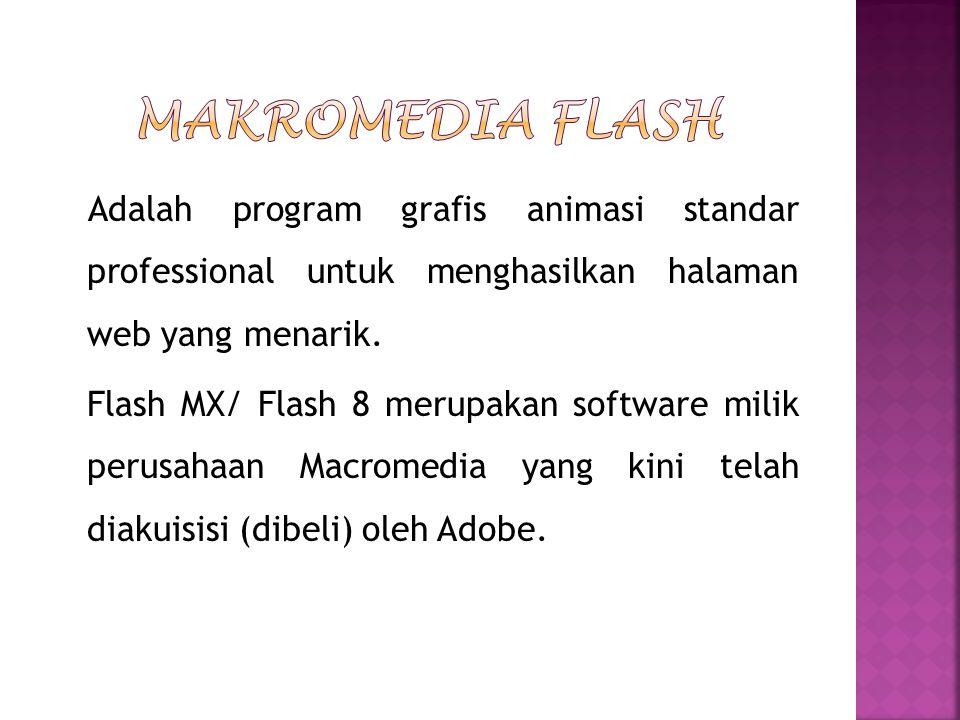 Adalah program grafis animasi standar professional untuk menghasilkan halaman web yang menarik. Flash MX/ Flash 8 merupakan software milik perusahaan