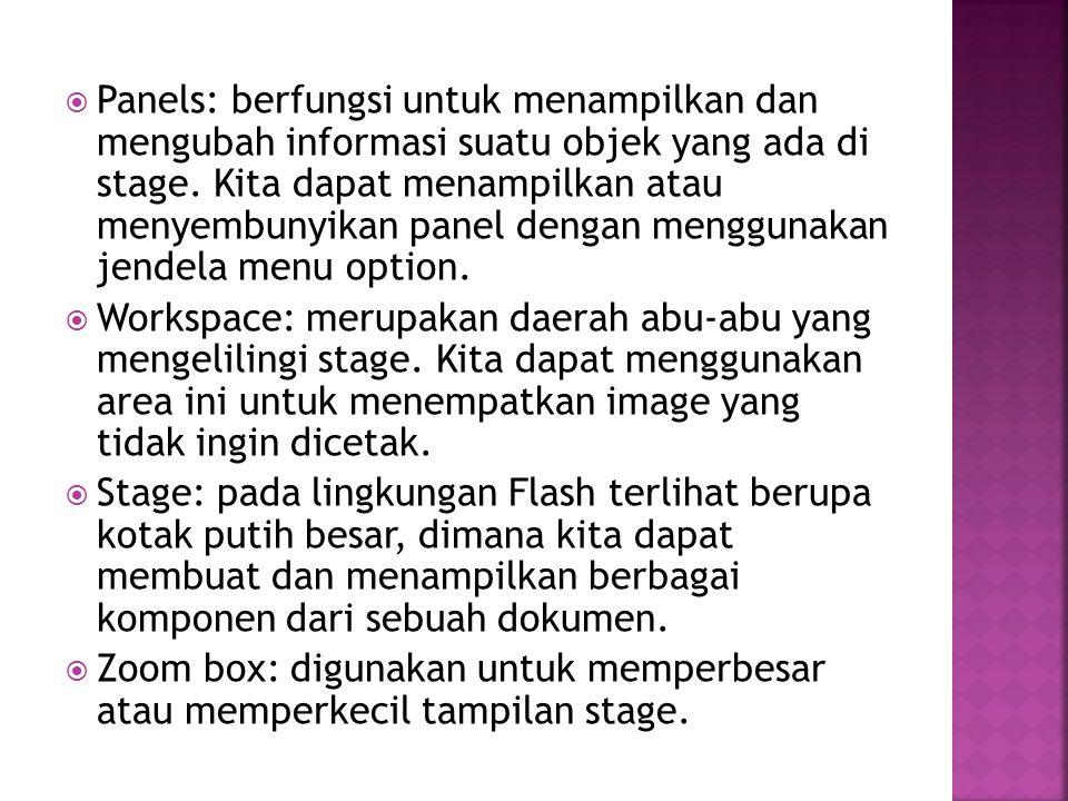  Panels: berfungsi untuk menampilkan dan mengubah informasi suatu objek yang ada di stage. Kita dapat menampilkan atau menyembunyikan panel dengan me