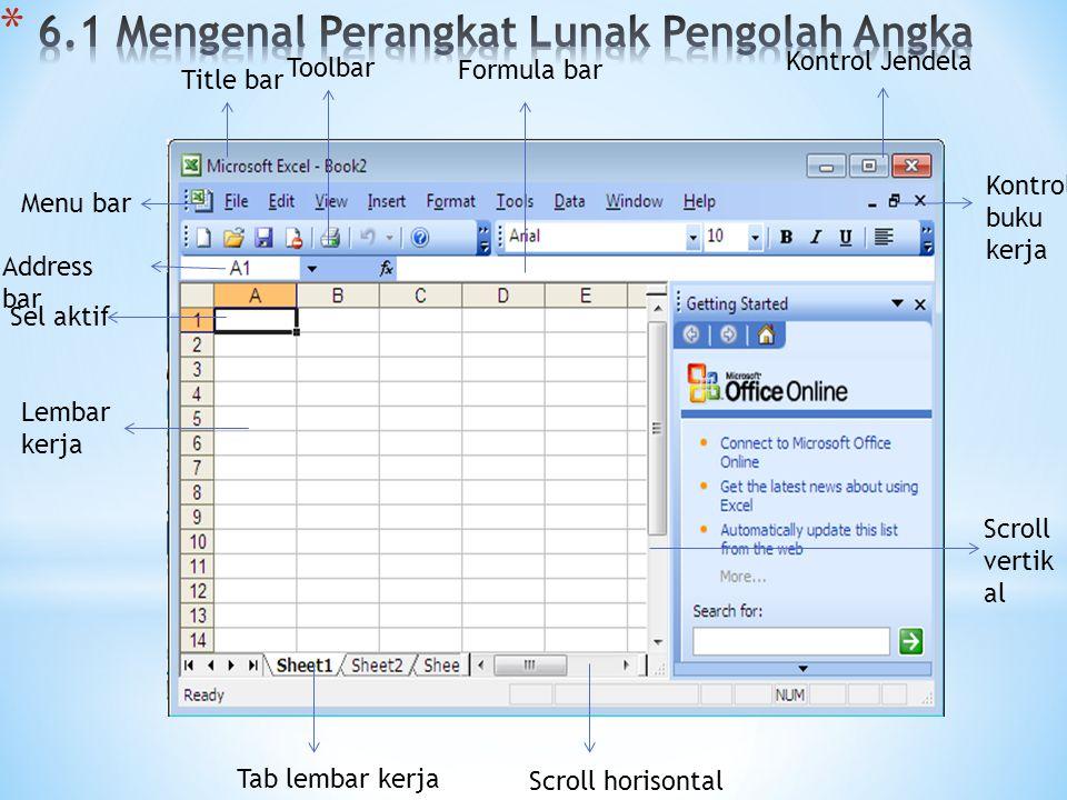 Title bar Formula bar Toolbar Kontrol Jendela Lembar kerja Address bar Sel aktif Menu bar Kontrol buku kerja Scroll vertik al Scroll horisontal Tab lembar kerja