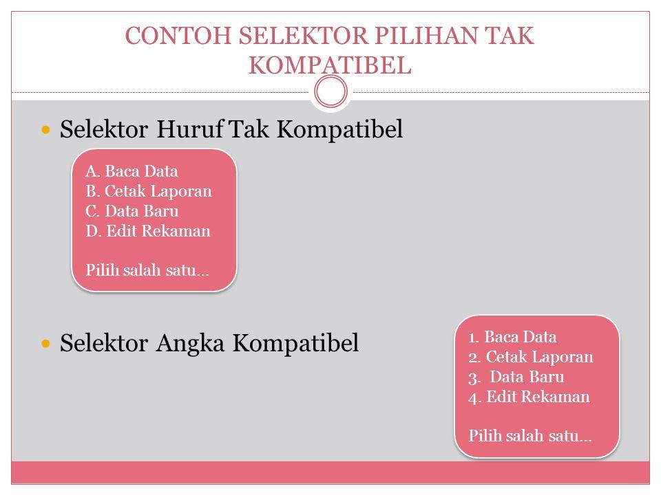 CONTOH SELEKTOR PILIHAN TAK KOMPATIBEL  Selektor Huruf Tak Kompatibel  Selektor Angka Kompatibel A.