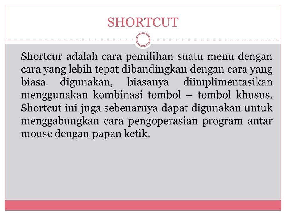Shortcur adalah cara pemilihan suatu menu dengan cara yang lebih tepat dibandingkan dengan cara yang biasa digunakan, biasanya diimplimentasikan menggunakan kombinasi tombol – tombol khusus.
