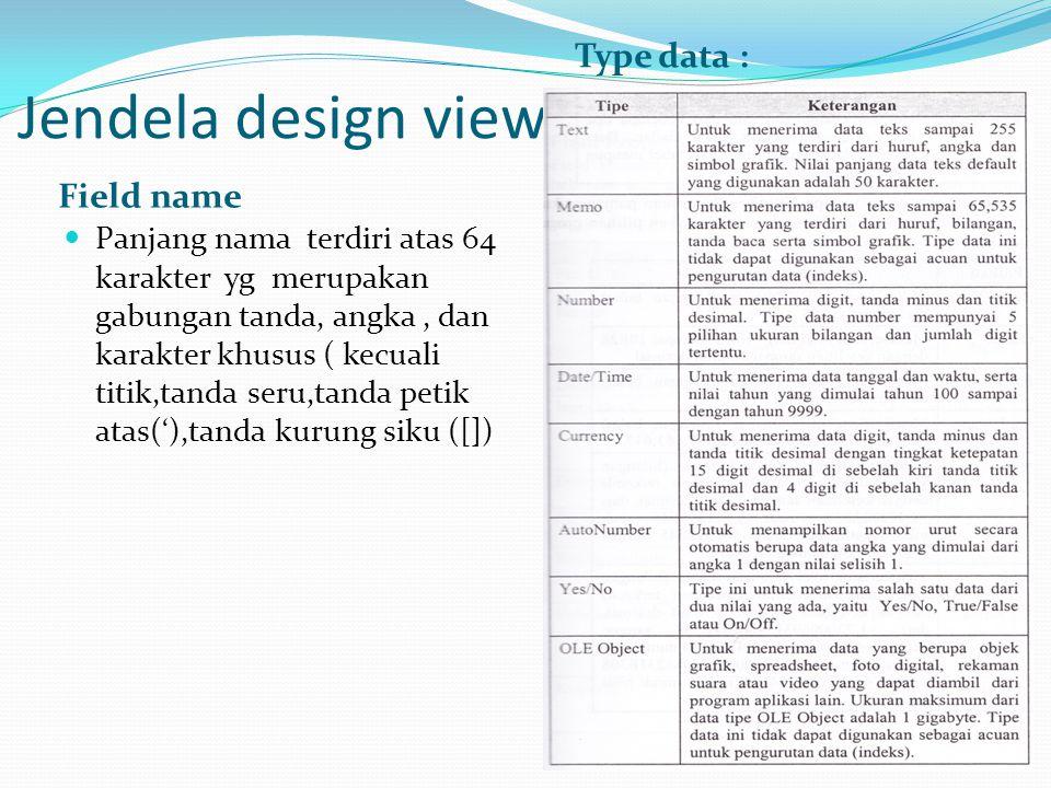 Jendela design view Field name Type data :  Panjang nama terdiri atas 64 karakter yg merupakan gabungan tanda, angka, dan karakter khusus ( kecuali t