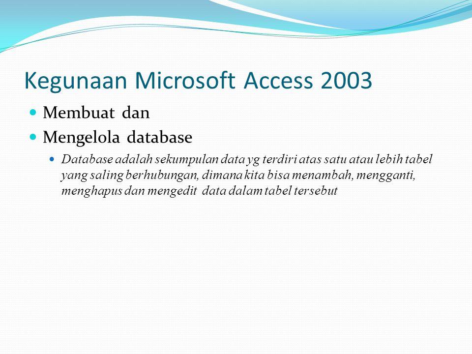Kegunaan Microsoft Access 2003  Membuat dan  Mengelola database  Database adalah sekumpulan data yg terdiri atas satu atau lebih tabel yang saling