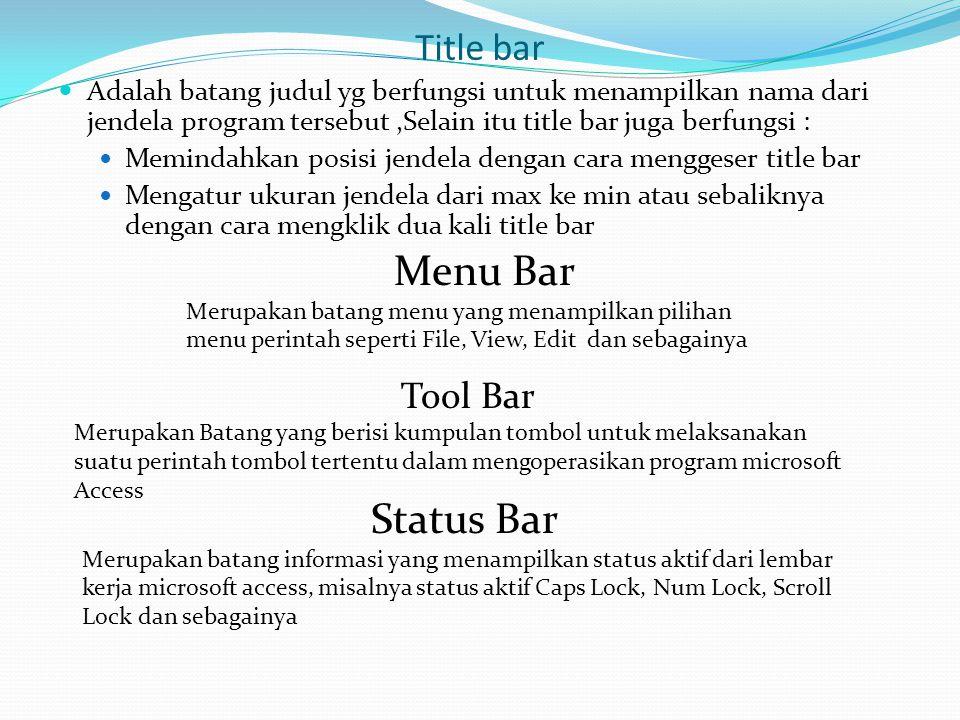 Title bar  Adalah batang judul yg berfungsi untuk menampilkan nama dari jendela program tersebut,Selain itu title bar juga berfungsi :  Memindahkan