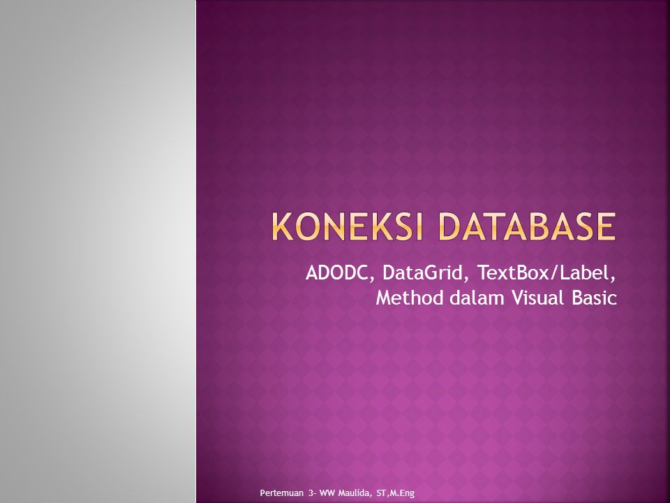 ADODC, DataGrid, TextBox/Label, Method dalam Visual Basic Pertemuan 3- WW Maulida, ST,M.Eng