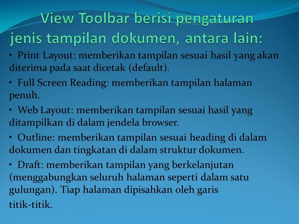 • Print Layout: memberikan tampilan sesuai hasil yang akan diterima pada saat dicetak (default). • Full Screen Reading: memberikan tampilan halaman pe
