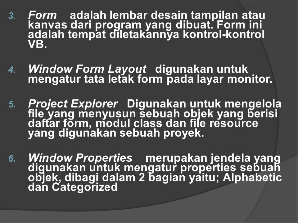 3. Form adalah lembar desain tampilan atau kanvas dari program yang dibuat. Form ini adalah tempat diletakannya kontrol-kontrol VB. 4. Window Form Lay