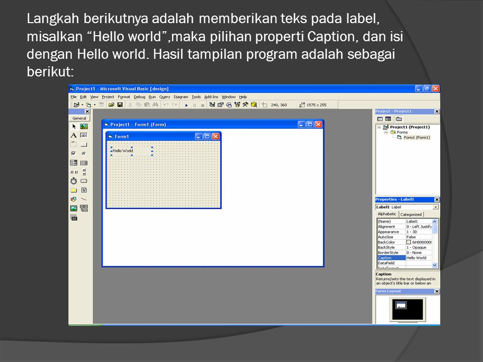 """Langkah berikutnya adalah memberikan teks pada label, misalkan """"Hello world"""",maka pilihan properti Caption, dan isi dengan Hello world. Hasil tampilan"""