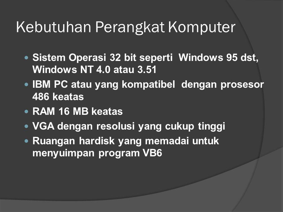 Kebutuhan Perangkat Komputer  Sistem Operasi 32 bit seperti Windows 95 dst, Windows NT 4.0 atau 3.51  IBM PC atau yang kompatibel dengan prosesor 48