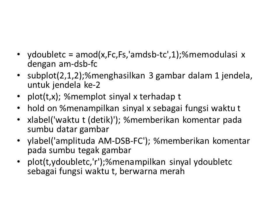 • ydoubletc = amod(x,Fc,Fs,'amdsb-tc',1);%memodulasi x dengan am-dsb-fc • subplot(2,1,2);%menghasilkan 3 gambar dalam 1 jendela, untuk jendela ke-2 •