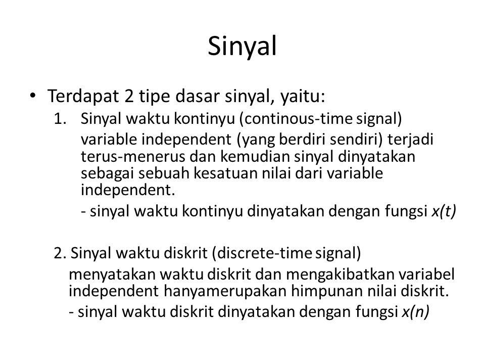 Sinyal • Terdapat 2 tipe dasar sinyal, yaitu: 1.Sinyal waktu kontinyu (continous-time signal) variable independent (yang berdiri sendiri) terjadi teru