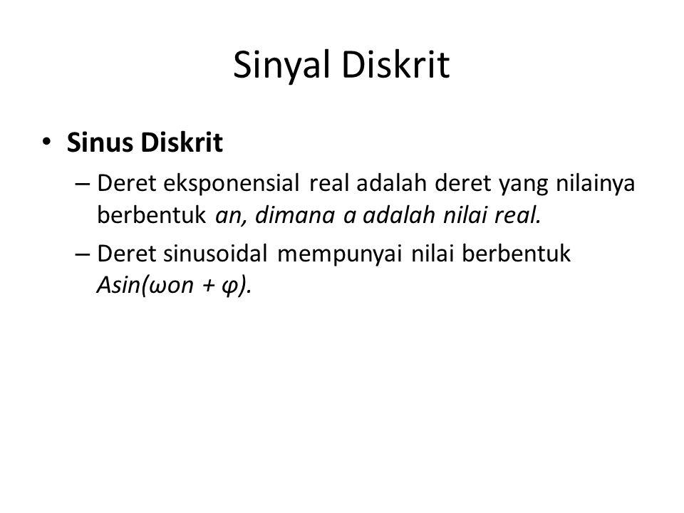 Sinyal Diskrit • Sinus Diskrit – Deret eksponensial real adalah deret yang nilainya berbentuk an, dimana a adalah nilai real. – Deret sinusoidal mempu