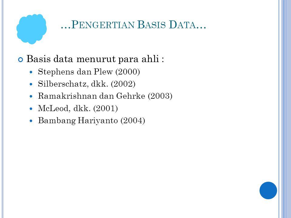 …P ENGERTIAN B ASIS D ATA … Basis data menurut para ahli :  Stephens dan Plew (2000)  Silberschatz, dkk.