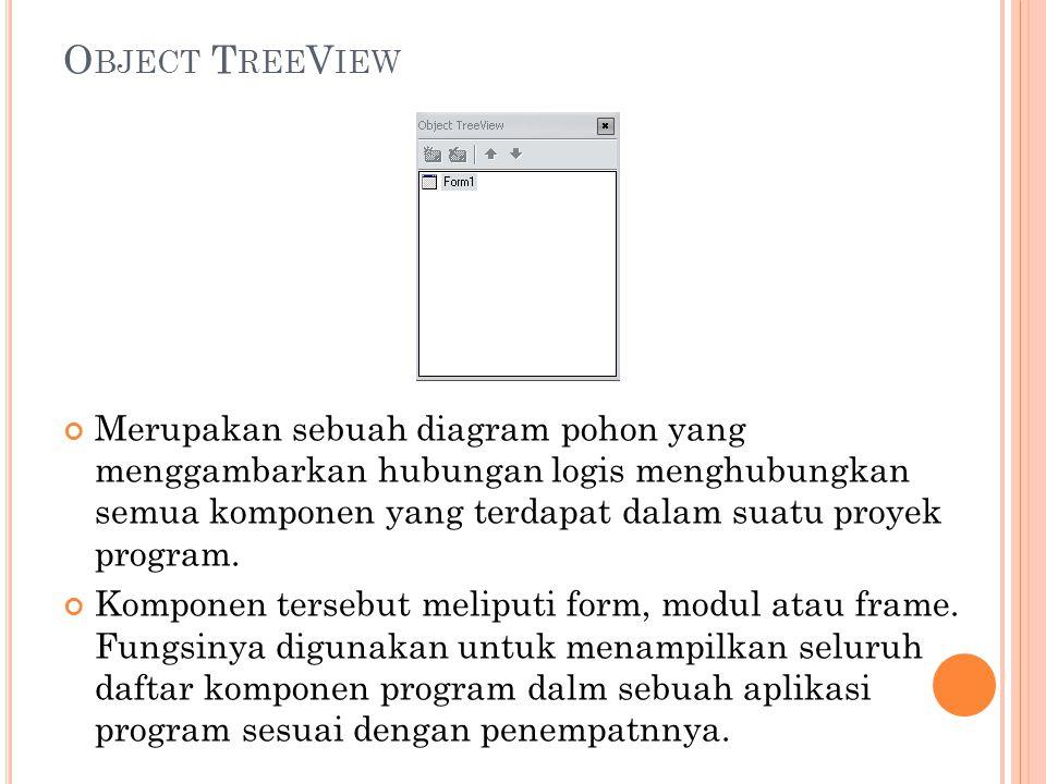 O BJECT T REE V IEW Merupakan sebuah diagram pohon yang menggambarkan hubungan logis menghubungkan semua komponen yang terdapat dalam suatu proyek pro