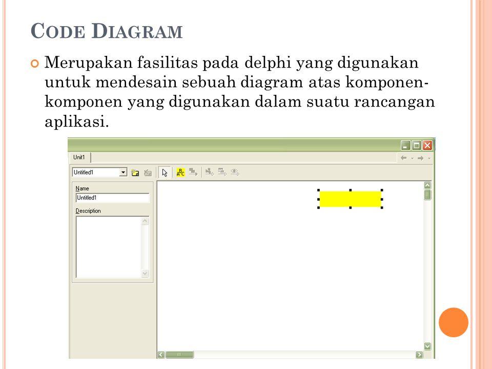 C ODE D IAGRAM Merupakan fasilitas pada delphi yang digunakan untuk mendesain sebuah diagram atas komponen- komponen yang digunakan dalam suatu rancan