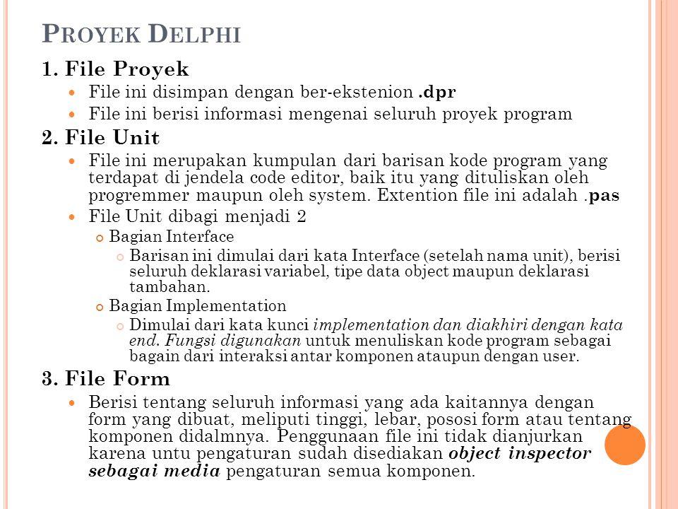 P ROYEK D ELPHI 1. File Proyek  File ini disimpan dengan ber-ekstenion.dpr  File ini berisi informasi mengenai seluruh proyek program 2. File Unit 