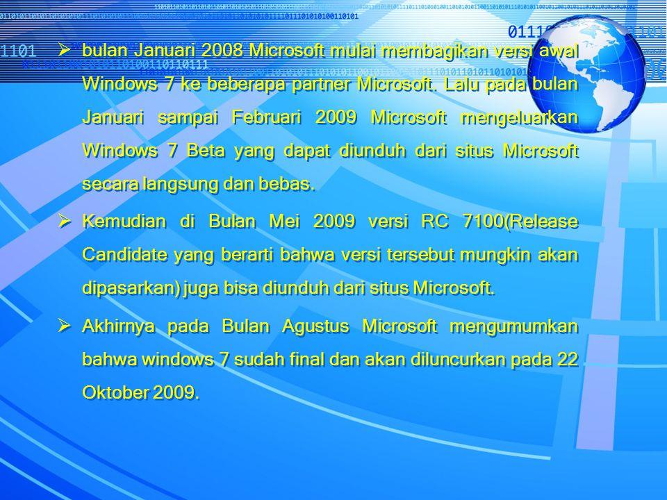  bulan Januari 2008 Microsoft mulai membagikan versi awal Windows 7 ke beberapa partner Microsoft. Lalu pada bulan Januari sampai Februari 2009 Micro
