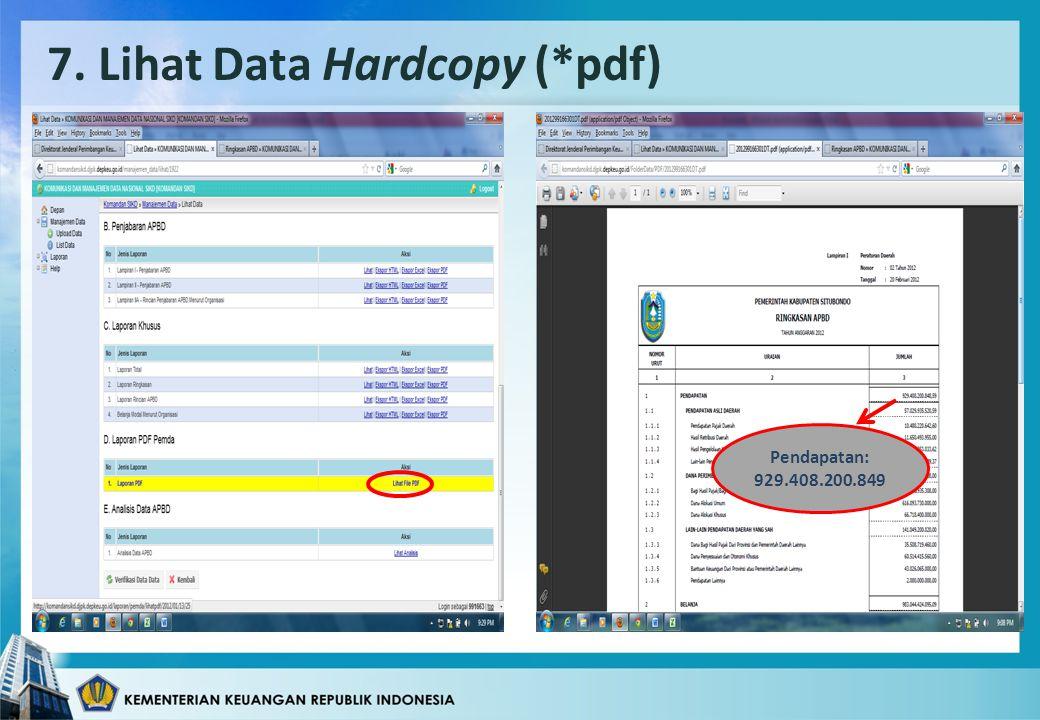7. Lihat Data Hardcopy (*pdf) Pendapatan: 929.408.200.849