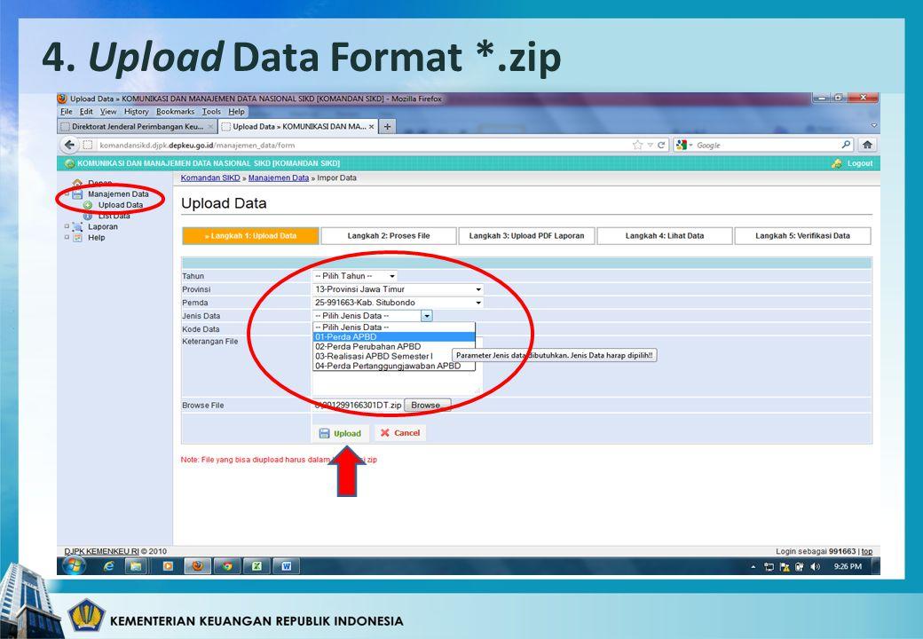 4. Upload Data Format *.zip
