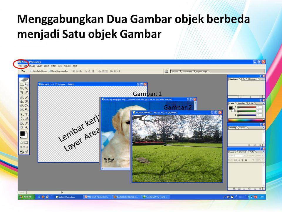 Menggabungkan Dua Gambar objek berbeda menjadi Satu objek Gambar Lembar kerja Baru / Layer Area Gambar. 1 Gambar 2