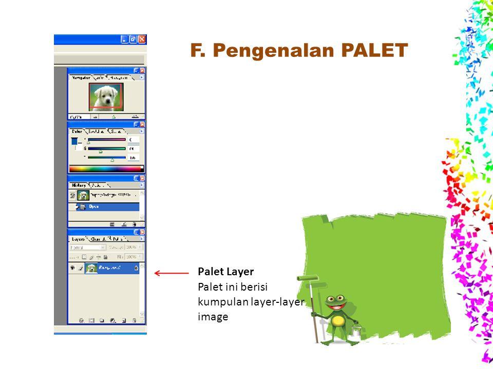 F. Pengenalan PALET Palet : merupakan bagian yang berisi informasi- informasi dari dokumen aktif atau beberapa perintah-perintah untuk memanipulasi ob