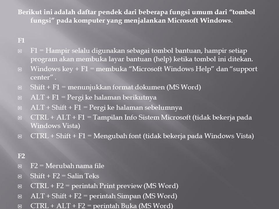 F3  F3 = Biasanya berfungsi sebagai fitur pencarian untuk banyak program termasuk Microsoft Windows  Shift + F3 = Perubahan kasus teks di MS Word  CTRL + F3 = Program spesifik.