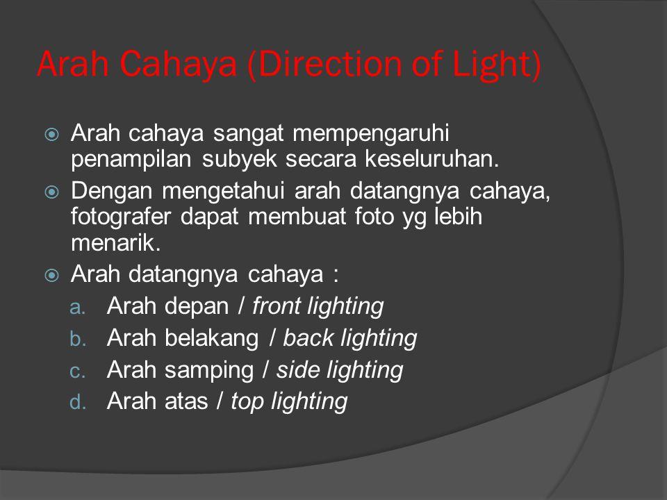 Arah Cahaya (Direction of Light)  Arah cahaya sangat mempengaruhi penampilan subyek secara keseluruhan.  Dengan mengetahui arah datangnya cahaya, fo