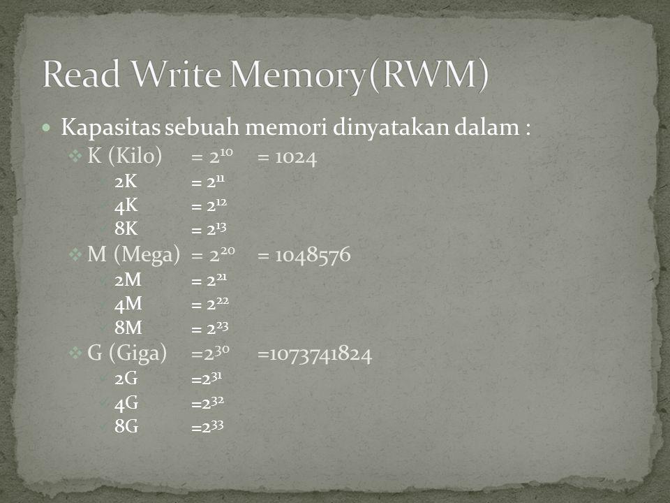  Kapasitas sebuah memori dinyatakan dalam :  K (Kilo) = 2 10 = 1024  2K= 2 11  4K= 2 12  8K= 2 13  M (Mega)= 2 20 = 1048576  2M= 2 21  4M= 2 2