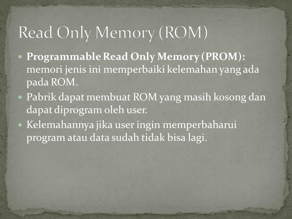  Erasable Programmable Read Only Memory (EPROM) : memori jenis ini menyempurnakan kelemahan dari PROM, program yang sudah diisikan dapat dihapus menggunakan sinar ultra violet dan dapat diisi atau diprogram kembali.