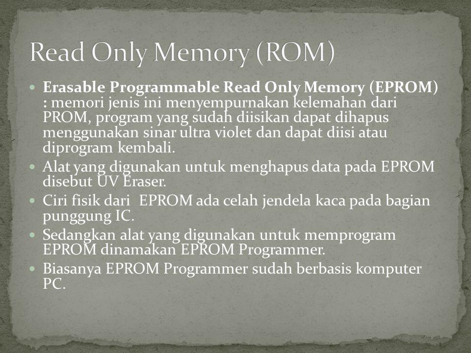  Electrical Erasable Programmable Read Only Memory (EEPROM) adalah jenis memori yang menyempurnakan kekurangan EPROM yang membutuhkan alat khusus untuk memprogram dan menghapus isi memorinya.