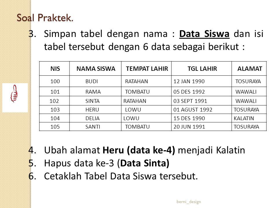 3.Simpan tabel dengan nama : Data Siswa dan isi tabel tersebut dengan 6 data sebagai berikut : 4.Ubah alamat Heru (data ke-4) menjadi Kalatin 5.Hapus