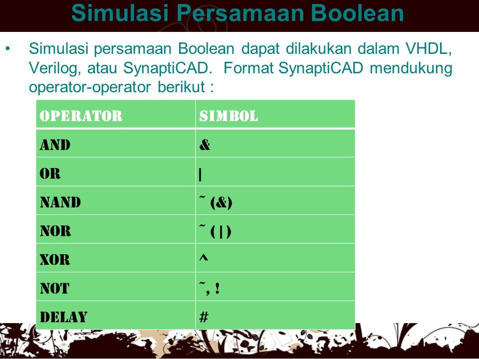 Simulasi Persamaan Boolean •Simulasi persamaan Boolean dapat dilakukan dalam VHDL, Verilog, atau SynaptiCAD. Format SynaptiCAD mendukung operator-oper