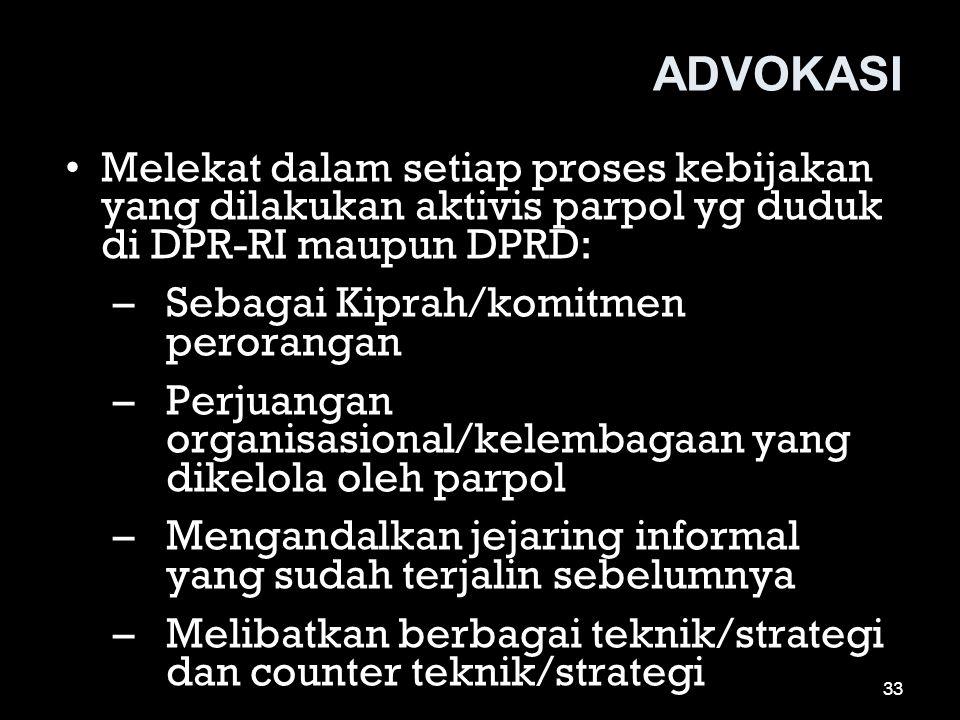 ADVOKASI •Melekat dalam setiap proses kebijakan yang dilakukan aktivis parpol yg duduk di DPR-RI maupun DPRD: –Sebagai Kiprah/komitmen perorangan –Per
