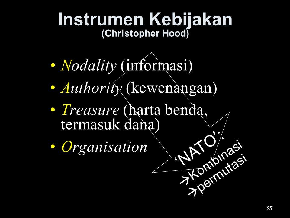 Instrumen Kebijakan (Christopher Hood) •Nodality (informasi) •Authority (kewenangan) •Treasure (harta benda, termasuk dana) •Organisation 'NATO':  Ko