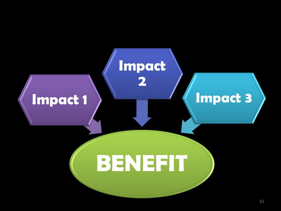 Penciptaan Benefit BENEFIT Impact 1 Impact 2 Impact 3 61