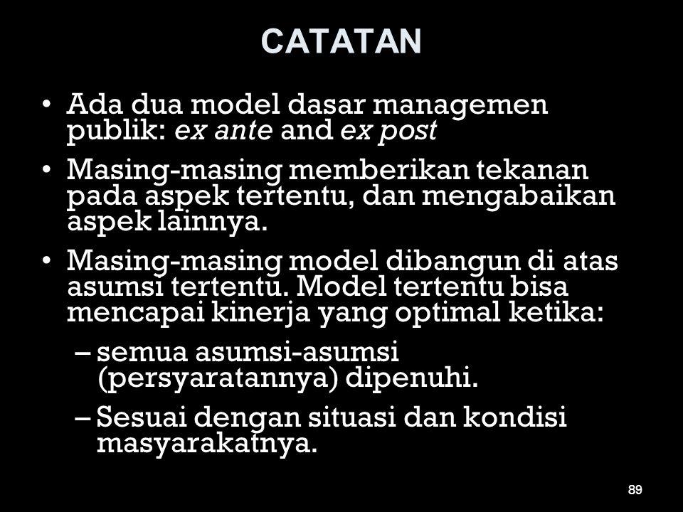 CATATAN •Ada dua model dasar managemen publik: ex ante and ex post •Masing-masing memberikan tekanan pada aspek tertentu, dan mengabaikan aspek lainny