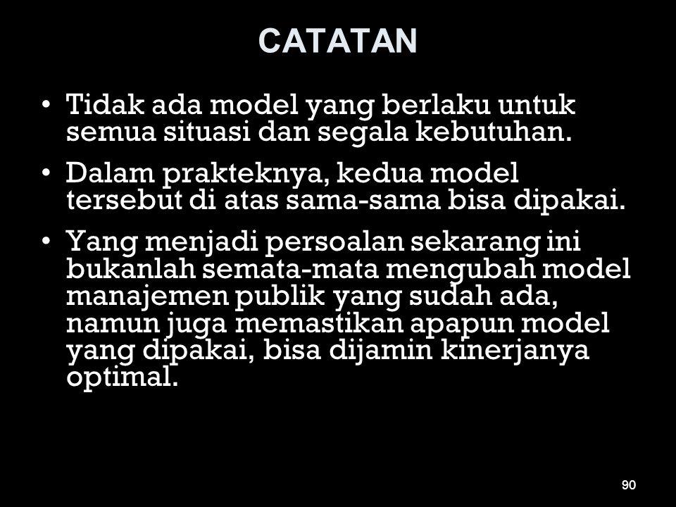 CATATAN •Tidak ada model yang berlaku untuk semua situasi dan segala kebutuhan. •Dalam prakteknya, kedua model tersebut di atas sama-sama bisa dipakai