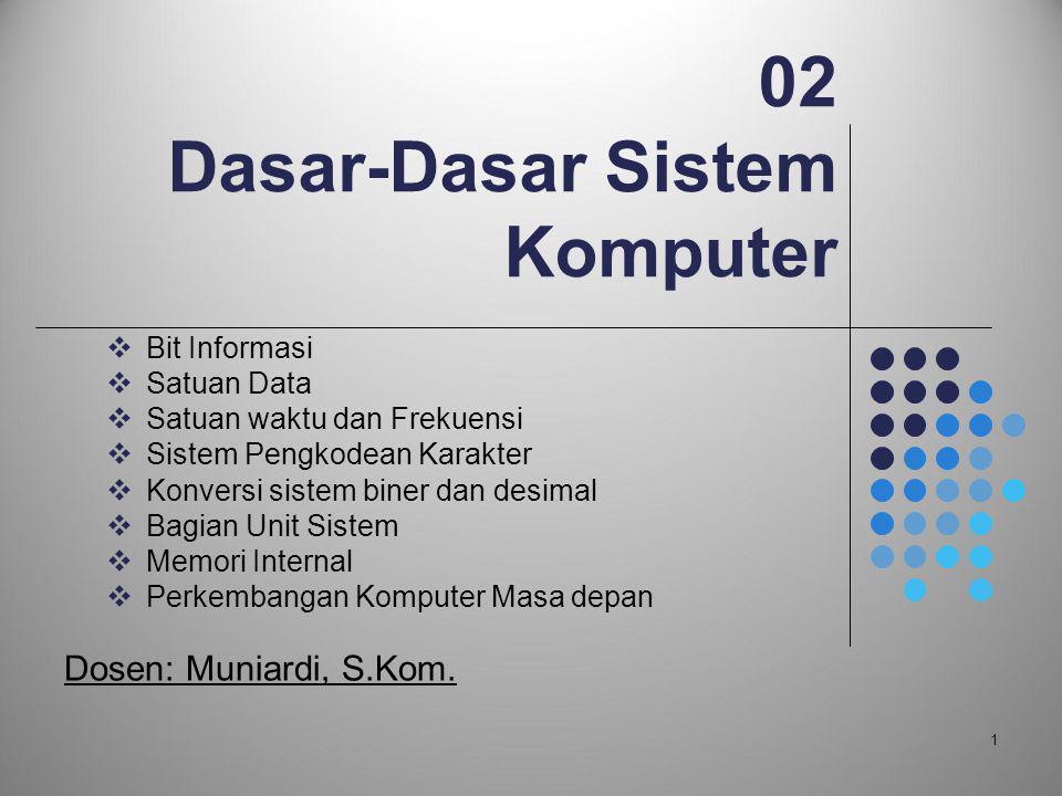 02 Dasar-Dasar Sistem Komputer  Bit Informasi  Satuan Data  Satuan waktu dan Frekuensi  Sistem Pengkodean Karakter  Konversi sistem biner dan des
