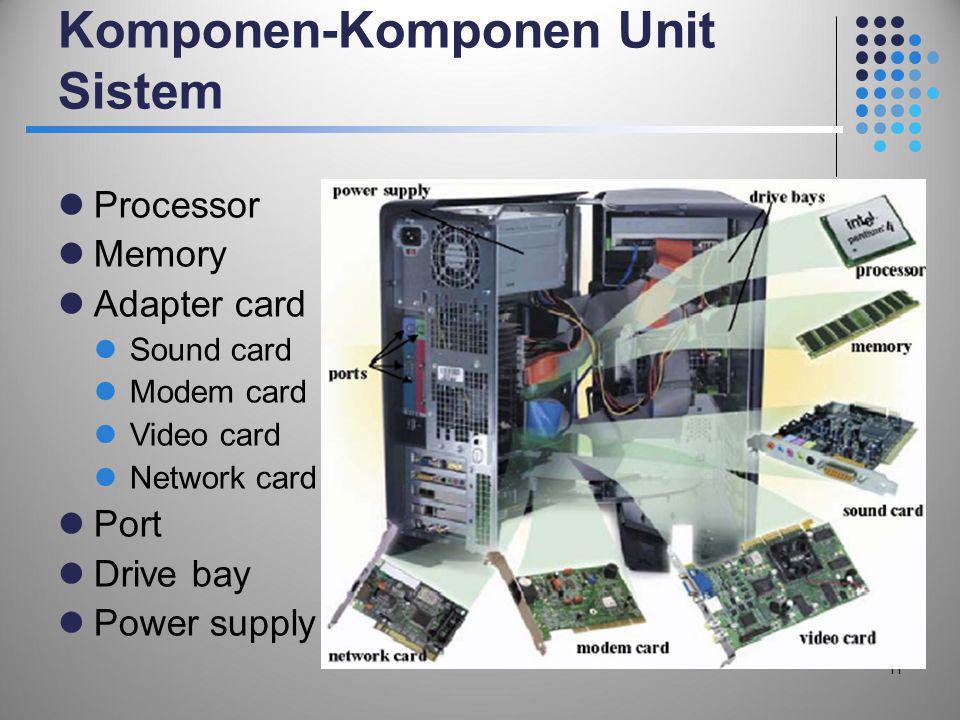 Komponen-Komponen Unit Sistem  Processor  Memory  Adapter card  Sound card  Modem card  Video card  Network card  Port  Drive bay  Power sup