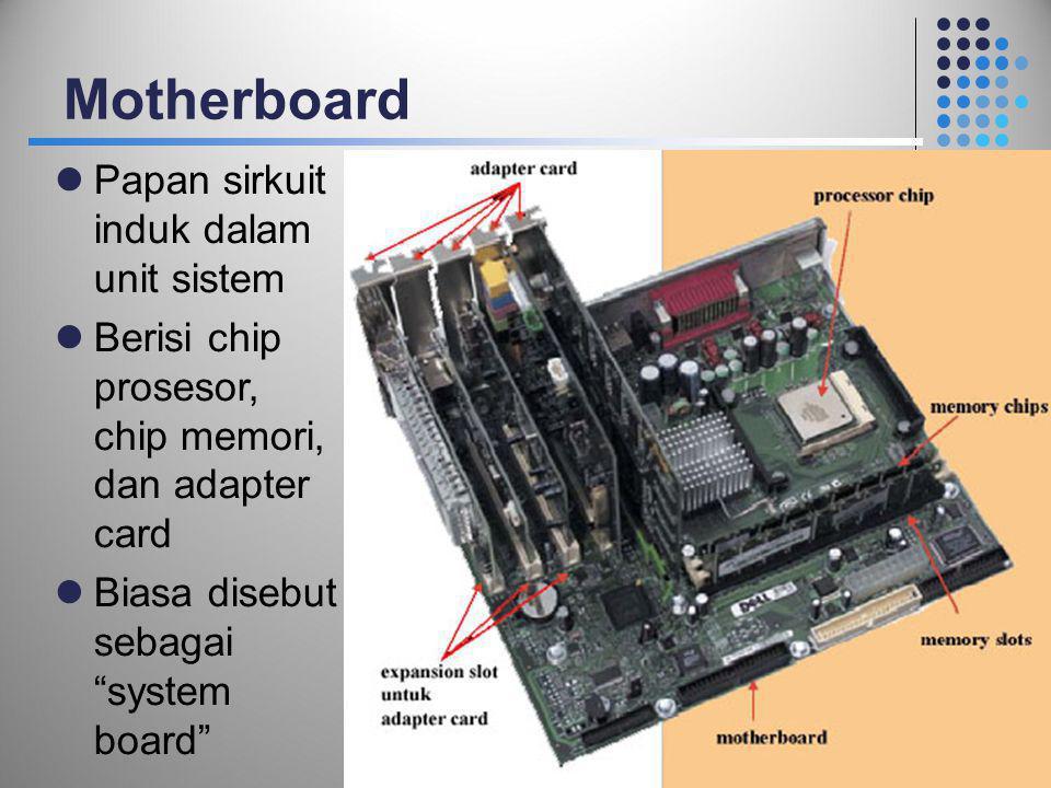 """Motherboard  Papan sirkuit induk dalam unit sistem  Berisi chip prosesor, chip memori, dan adapter card  Biasa disebut sebagai """"system board"""" 12"""
